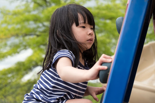 a small child playing on a playground